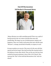 Out Of Mormonism Ed Deckers Story