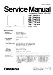 Service Manual: Panasonic TH 42PA50H TH 37PA50M TH 42PA50A