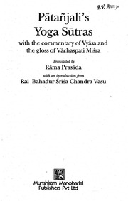 Patanjalis Yoga Sutraswith The Commentary Of Vyasa And The Gloss Of