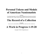 Pesonal Tokens and Medals of American Numismatists
