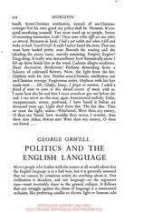 orwells rules for good language essay George orwell's politics and the english language orwell states that good writing has nothing to do with correct grammar and syntax, which are of no importance so long as one makes one's meaning clear write a well-reasoned essay in which you defend, challenge, or qualify this statement, using evidence taken from your reading of the essay.
