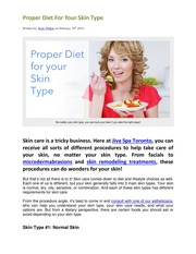 Proper Diet for Your Skin Type