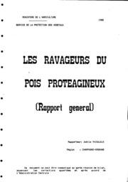 Rapport national - Grandes cultures - Les ravageurs du pois protéagineux - 1988