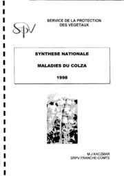 Rapport national - Grandes cultures - Maladies du colza - 1998