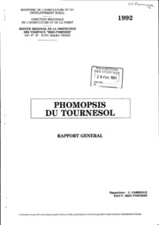 Rapport national - Grandes cultures - Phomopsis du tournesol - 1992