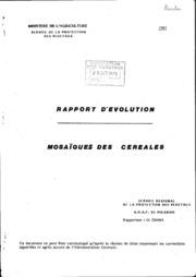 Rapport national - Grandes cultures - Rapport d-évolution, mosaïque des céréales - 1985