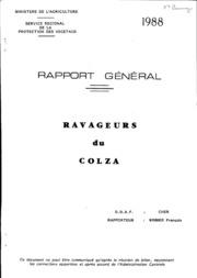 Rapport national - Grandes cultures - Rapport général ravageurs du colza - 1988