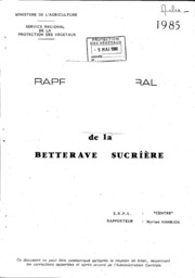 Rapport national - Grandes cultures - Rhizomanie de la betterave sucrière - 1985