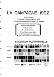 Rapport national - Grandes cultures - Septoriose du blé, fusariose des épis, oïdium, rhyncosporiose, helminthosporiose - 1992