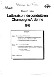 Rapport régional - Champagne-Ardenne - Grandes cultures - Pomme de terre : lutte raisonnée conduite en Champagne-Ardenne - 1998