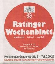 Ratinger Wochenblatt 18. Juli 2013 Nach Essen Besser gar nicht!
