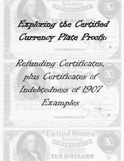 Refunding Certificates, plus Certificates of Indebtedness of 1907 Examples