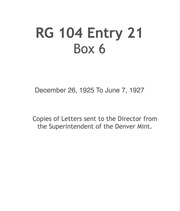 Letters sent to the Director from the Superintendent of the Denver Mint