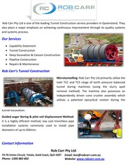 Rob Carr Pty Ltd - Tunnel Construction in Queensland