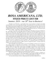 Rosa Americana, Ltd. Fixed Price List #20