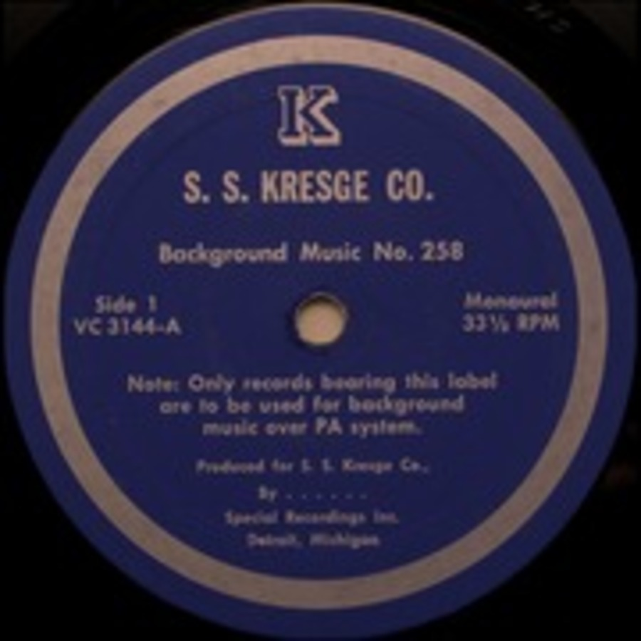 S  S  Kresge Background Music Record No  258 : Special Recordings