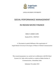 thesis for microfinance Microfinance: its impacts on this thesis will have three major parts the first, will expose the significance of the informal sector as a whole for the region.