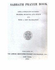 Sabbath Prayer Book : Jewish Reconstructionist Foundation