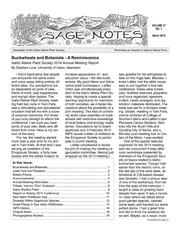 Vol v.37, no.1: Sage notes : Idaho Native Plant Society newsletter