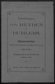 Sammlungen von Heyden und Buhlers Ehrenzeichen