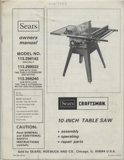 Sears craftsman 10 inch table saw models 113298142 for 10 inch table saw craftsman