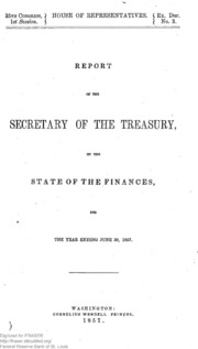 Report of the Secretary of the Treasury on the State of the Finances (1857)