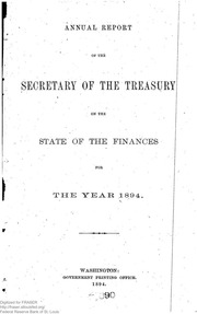 Report of the Secretary of the Treasury on the State of the Finances (1894)