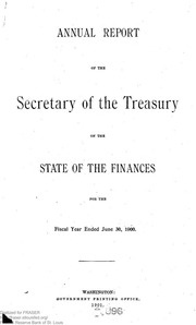 Report of the Secretary of the Treasury on the State of the Finances (1900)