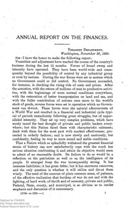 Report of the Secretary of the Treasury on the State of the Finances (1920)