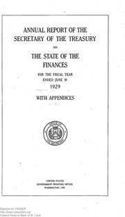 Report of the Secretary of the Treasury on the State of the Finances (1929)