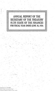 Report of the Secretary of the Treasury on the State of the Finances (1936)