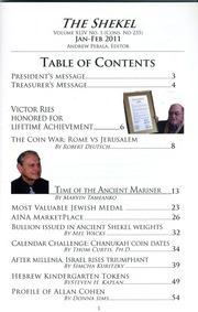 The Shekel, vol. 44, no. 1 (January-February 2011)