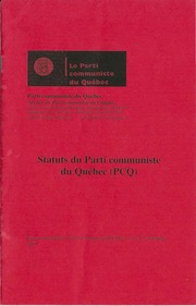 Statuts du Parti Communiste du Québec PCQ