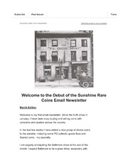 Picture of Sunshine Rare Coins Email Newsletter