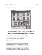 Sunshine Rare Coins Email Newsletter #2