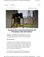 Sunshine Rare Coins Email Newsletter #8