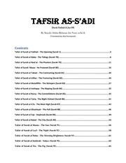 Tafsir As Sa'di ( Fatiha & Juz 30) : www islam gq : Free