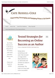 Tested Strategies For Becoming An Online Success As An Author