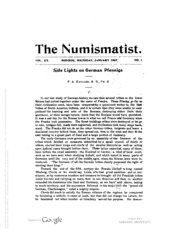 The Numismatist, Vol. 20 (1907)