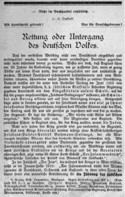 Rettung oder Untergang des deutschen Volkes