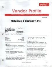 Vendor Profile: A Publication From INPUTu0027s Vendor Analysis Program