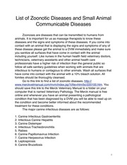 Zoonosesand Infectious Diseasesofthe Dogand Cat