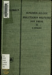Vol 3a: Aufgaben aus der analytischen Geometrie der Ebene