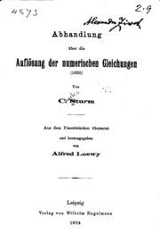 Abhandlung über die auflösung der numerischen gleichungen 1835