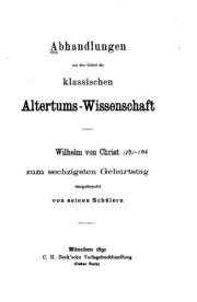 Abhandlungen aus dem Gebiet der klassischen Altertums-wissenschaft