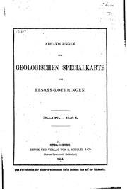 Abhandlungen zur geologischen specialkarte von Elsass-Lothringen