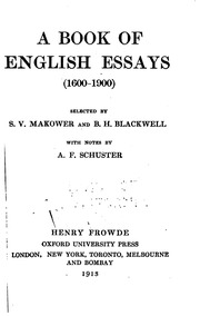 A Book Of English Essays Makower Stanley V A Book Of English Essays