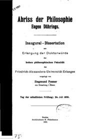 Abriss der philosophie Eugen Dührings ..