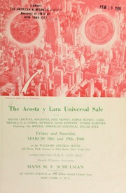 The Acosta y Lara universal sale : silver crowns, ancients, odd money, paper money ... [03/18-19/1960]