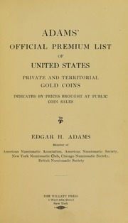 Adams' Official Premium List of United States Private and Territorial Gold Coins